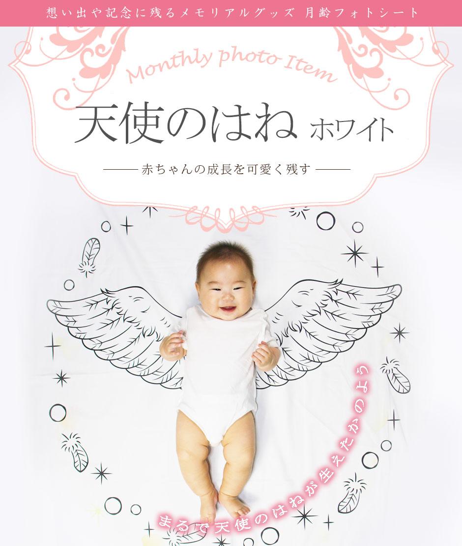 月齢フォトシート 天使のはね ホワイト