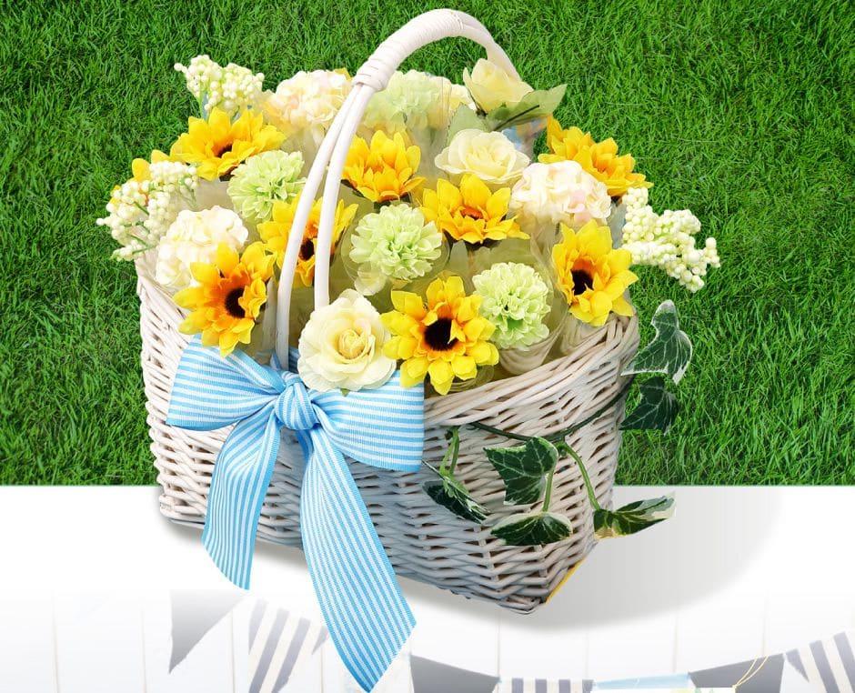バスケットにお花を摘んだよう